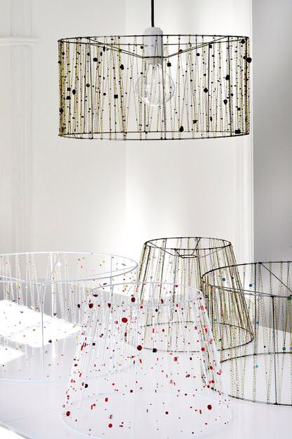 Vintage homemade wire lamp shade