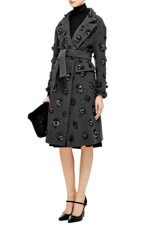 Steel Rose-Embroidered Wool Coat by Aquilano.Rimondi - Moda Operandi