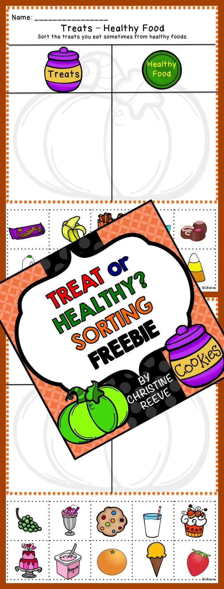 Free sweets/healthy food sorting activities. Perfect for Halloween, even if you can't use Halloween activities (no bats, ghosts or witches included). 2 cut-and-paste worksheets --or laminate them to file folders.