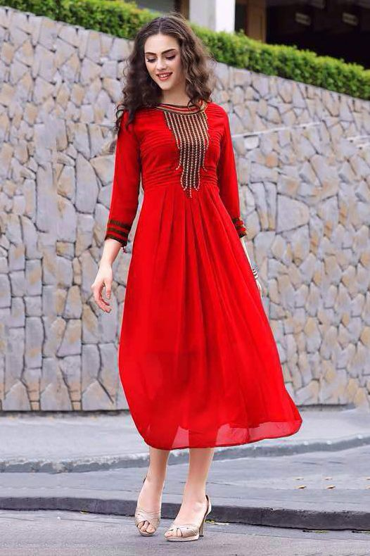 This Pure Georgette Red Colour Kurti Is The Fun Attire Of The Moment. Get It On And Style It With A Handbag And Earings For The Perfect Day Look. Its Party Wear And Cute - The Essentials For Your Ward...