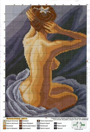0 point de croix femme au bain - cross stitch woman, lady at her bath