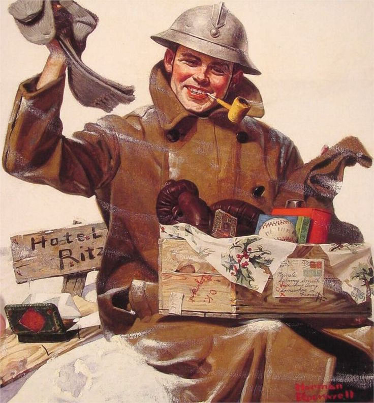 """""""They Remembered Me"""" 12/22/1917 """"Soldier With Car Package"""" """"Private Sammy Smith"""" [Hotel Ritz] by Norman Rockwell for Leslie's Illustrated Weekly Newspaper"""