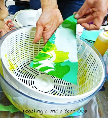 Teaching 2 and 3 Year Olds - painting with a salad spinner