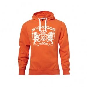 Oranje McGregor sweater met capuchon met het McGregor logo. Met op de mouwen een doorgestikt nummer en het de Nederlandse vlag in een harnas. De capuchon heeft drawstrings en kan worden aangesnoerd. De mouwzoom en manchetten zijn fijn geribd afgewerkt en de zijnaden van het vest heeft riblijnen.