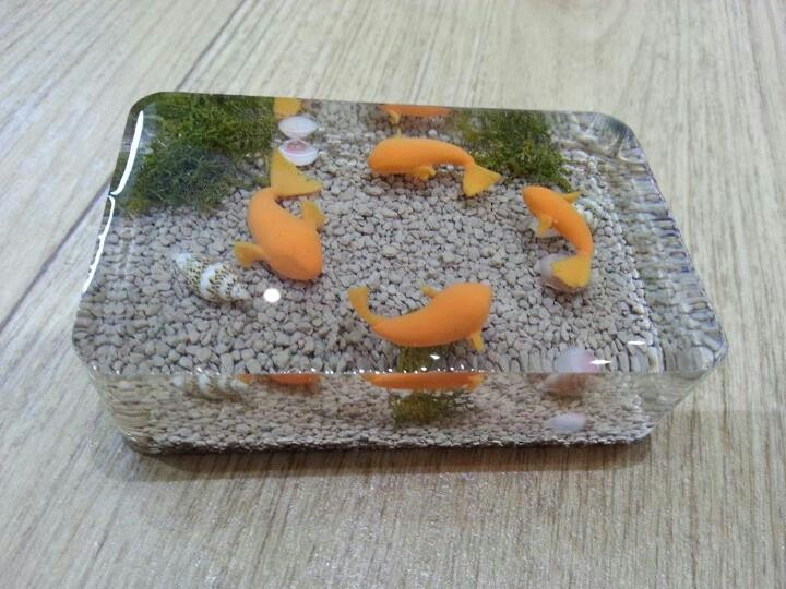 Dee raa arts fish pond paperweight resin polymerclay for Miniature fish pond