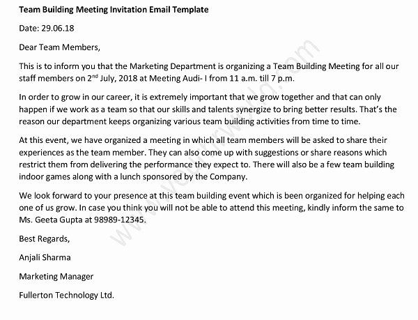 Meeting Invitation Email Sample Inspirational Team Building Meeting Invitation Email Sample In 2020 Email Invitation Email Templates Invitations