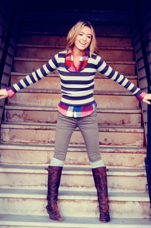 autumn love: Mixed Patterns, Stripes Sweaters, Socks, Fall Looks, Fall Outfits, Mixed Prints, Strips, Plaid Shirts, Boots