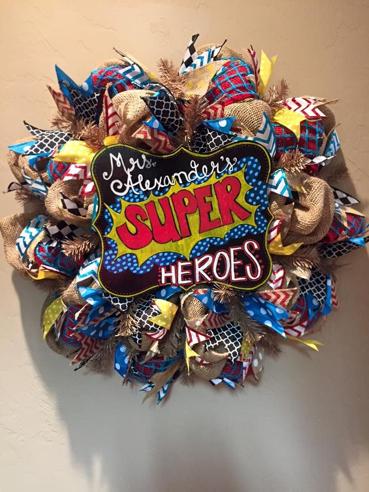 Custom School Teacher Gift Wreath and Chalkboard - Burlap Wreath with Colorful Patterned Ribbon and Decorative Chalkboard! Visit the Facebook Page to Order Customized Wreaths and Chalkboards!!
