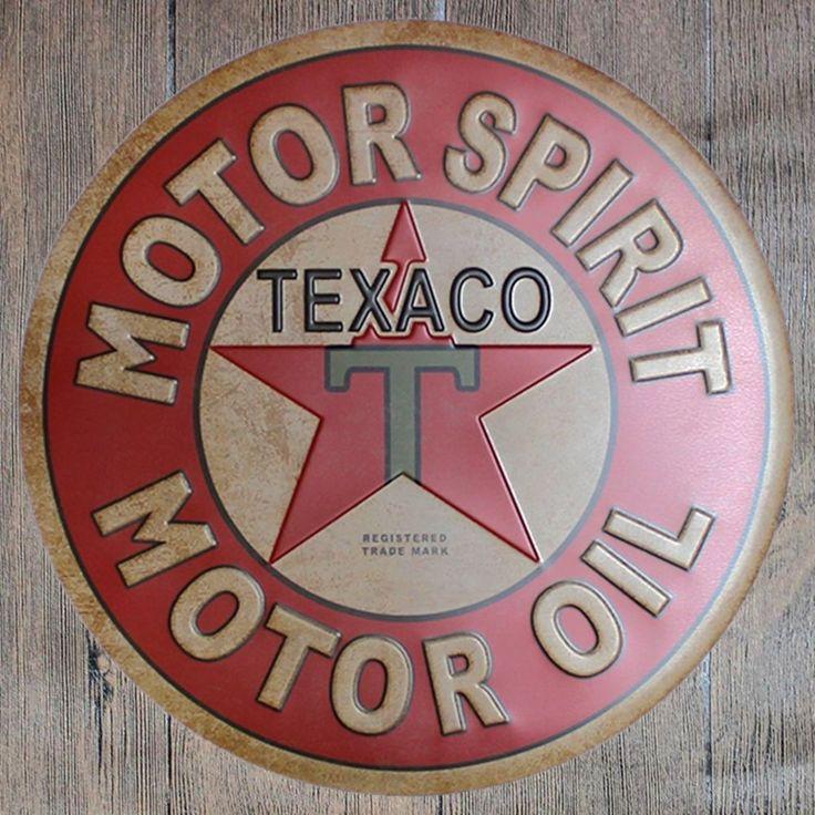Metal Tin Sign round texaco motor oil decor Bar Pub Retro Poster 30cm diameter  | eBay