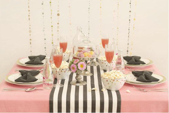 Love this table runner. Also like the idea of a cake stand as a center piece.