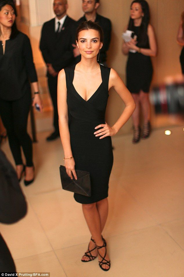 Chic: Gone Girl actress Emily showed off her flawless style in a smart black cocktail dres...