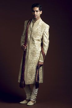 Jamevar silk sherwani with all over zardosi work. Stole as seen is not included.