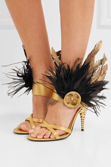 Heel measures approximately 120mm/ 5 inches Gold and black satin and feathers (Goose, Ostrich, Junglefowl) Slip on Goose: Netherlands; Ostrich: South Africa; Junglefowl: Australia Made in Italy