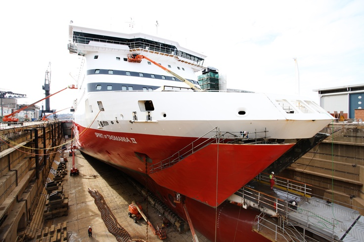 Spirit II in dry dock during the day