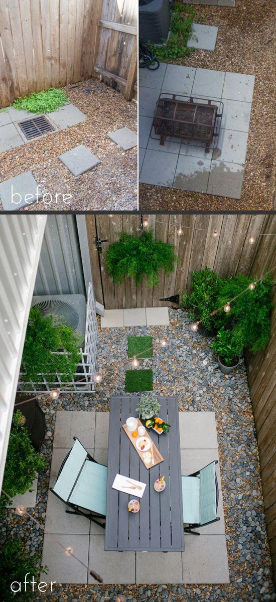 Este pequeño cambio de imagen del patio trasero es perfecto, desde Azúcar y tela.