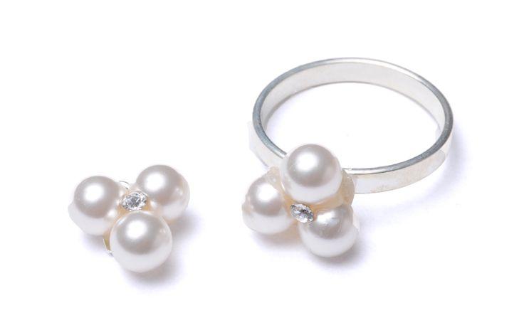 Serviciu de lipire pentru pandantiv și inel - Perle Swarovski și baze din argint 925 #bijuterii #swarovski #swarovskicrystals #argint #simoshop #set #inel #pandantiv #perle #swarovskipearls