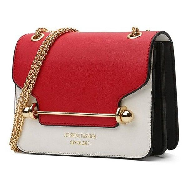 Red Chain Color Blocking Crossbody Bag (42 BRL) ❤ liked on Polyvore featuring bags, handbags, shoulder bags, bolsas, purses, carteras, crossbody shoulder bag, red cross body purse, handbags shoulder bags and shoulder handbags