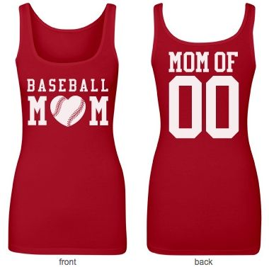 Custom #baseball mom shirts! Personalize a Trendy #BaseballMom Tank Top with your son or daughter's name on the back! Homerun! Great idea for a Mother's Day gift!