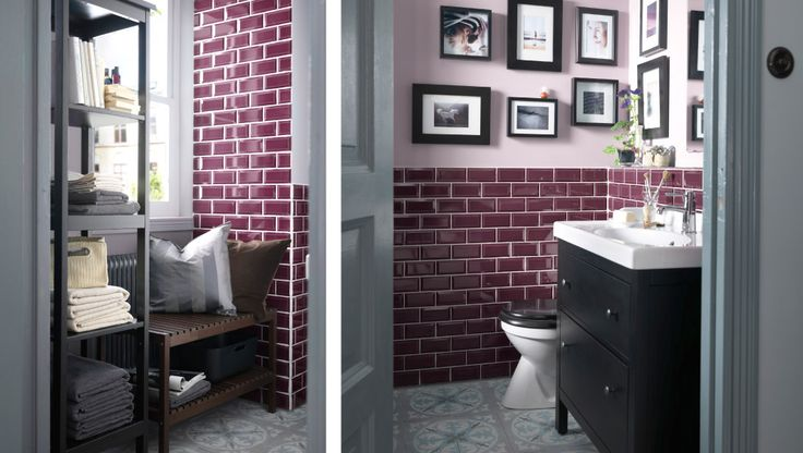 Purple tile bathroom ❤❤❤, two-toned toilet , not too sure about that reading nook in a bathroom : /
