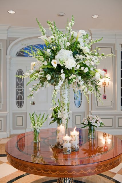 Blue And White Wedding Reception Tattoo Tall Glass Vase With White