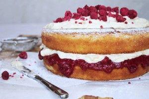 "Rhubarb, Raspberry & Vanilla Mascarpone Sponge Cake ~ via this blog, ""Chelsea Winter""."