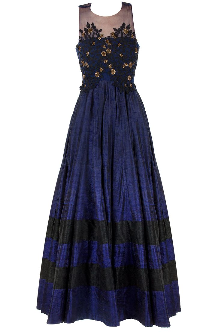 Blue anarkali with sheer emboridered bodice available only at Pernia's Pop-Up Shop.