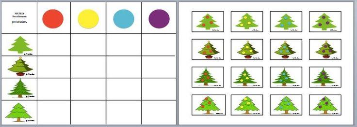 Juf Berdien zelfgemaakte matrix diverse kerstbomen thema kerstmis