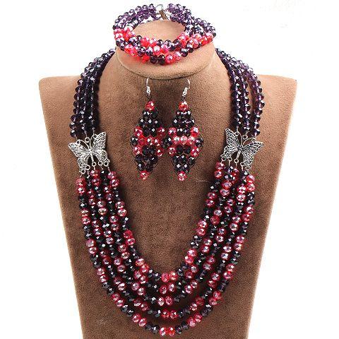Купить Многослойных красный и фиолетовый кристалл и шарма бабочки комплект ювелирных изделий ( ожерелье серьги и браслет соответствие )и другие товары категории Ювелирные наборыв магазине Lucky Fox JewelryнаAliExpress. Ювелирные наборы