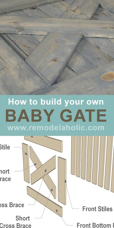 Build Your Own Baby Gate. This is great for the bottom of the stairs, or the top, if you used a more child-proof latch design.  Maybe just putting the latch on the side the kids aren't supposed to be on would keep little fingers from opening this. I REALLY love how it looks--and it's really just a half door.  Perfect.