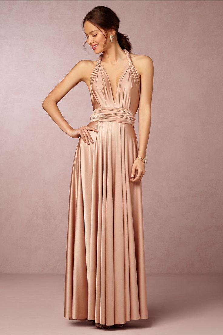Convertible Pleated Shoulder #Strap Long #Silk Satin #Bridesmaid Dress