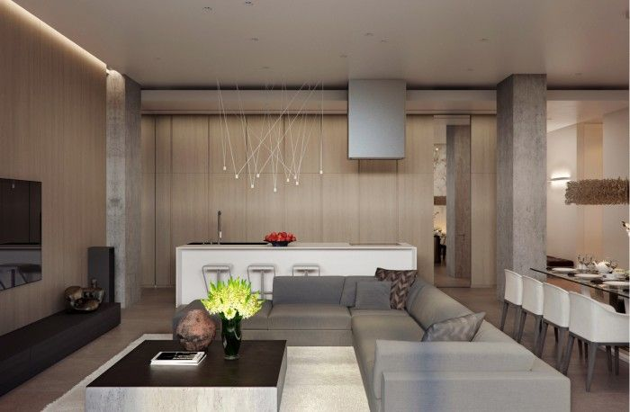 appartement à aire ouverte: cuisine, salle à manger et salon design