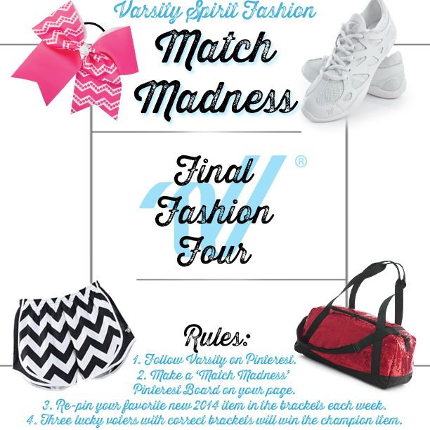 Contest Rules: 1. Follow Varsity on Pinterest. 2. Make a board with the title 'Varsity Final Fashion Four'. 3. Add the 'Match Madness' bracket & rules pin to the board. 4. Next, re-pin the image of your favorite Final Fashion Four item from our board. 5. Add your new top pick to your board each week. [3 of our best bracket winners will win the top items for the fame & fashion! ]