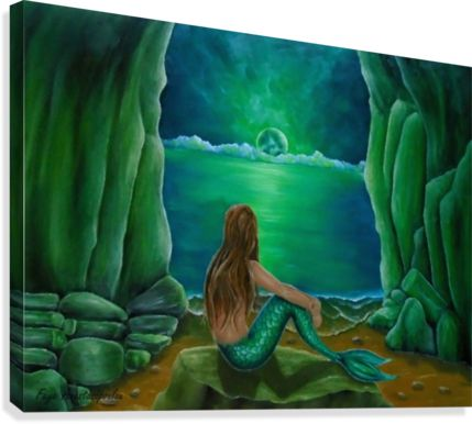 Summer, painting, sitting, contemplating, mermaid, theme, coastal, beach, scene, green, aquatic, sea, life, nature, fantasy, magical, mystical, night, moon, light, cave, fine art, oil painting, home decor, ideas, items, canvas print, for sale