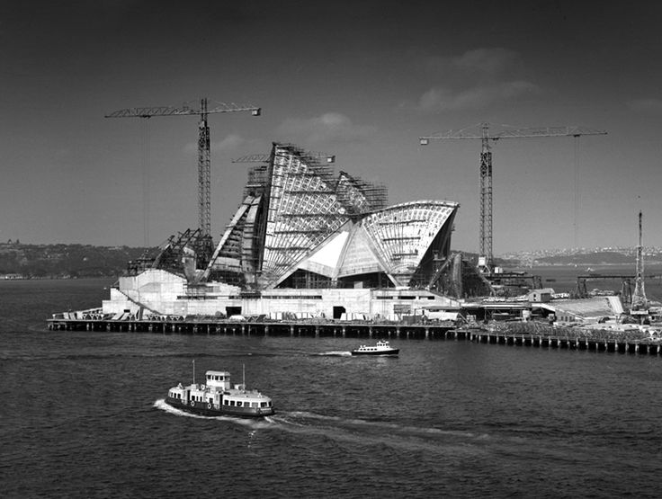 Sydney Opera House, construction shows Kooleen ferry. Max Dupain photo, 1965.
