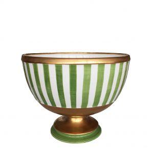 Bolo in ceramica a righe verdi con profili oro Este Ceramiche