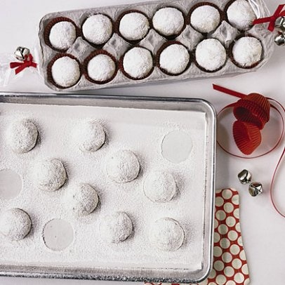 Egg crates as packaging for round cookies such as snowballs or russian teacakes