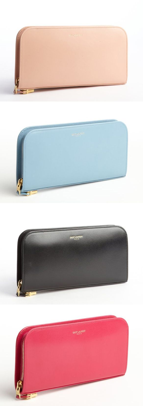 SAINT LAURENT Leather Zip Continental Wallets // love all these colors.... Love the coral pink.