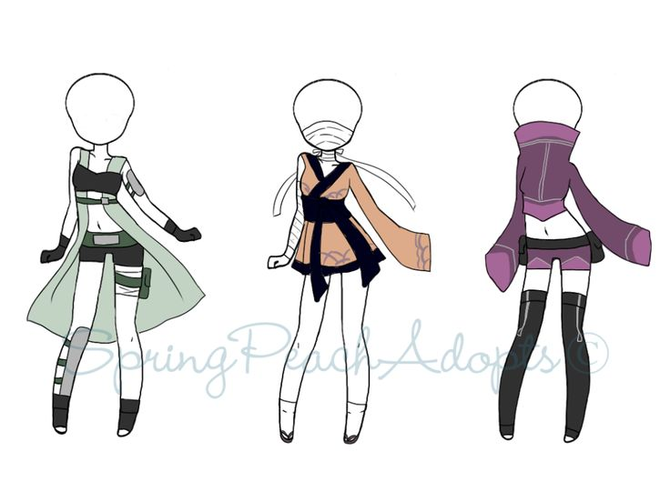 Naruto Outfit Adopts 3 (CLOSED) by SpringPeachAdopts.deviantart.com on @DeviantArt