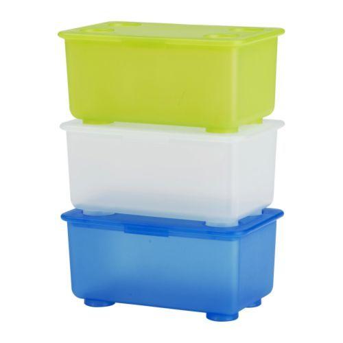 GLIS Boîte avec couvercle, blanc/vert clair, bleu blanc/vert clair/bleu 17x10 cm