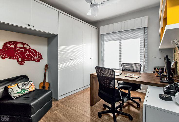 Home office para dois em 9 m². Fotos publicadas na revista MINHA CASA.