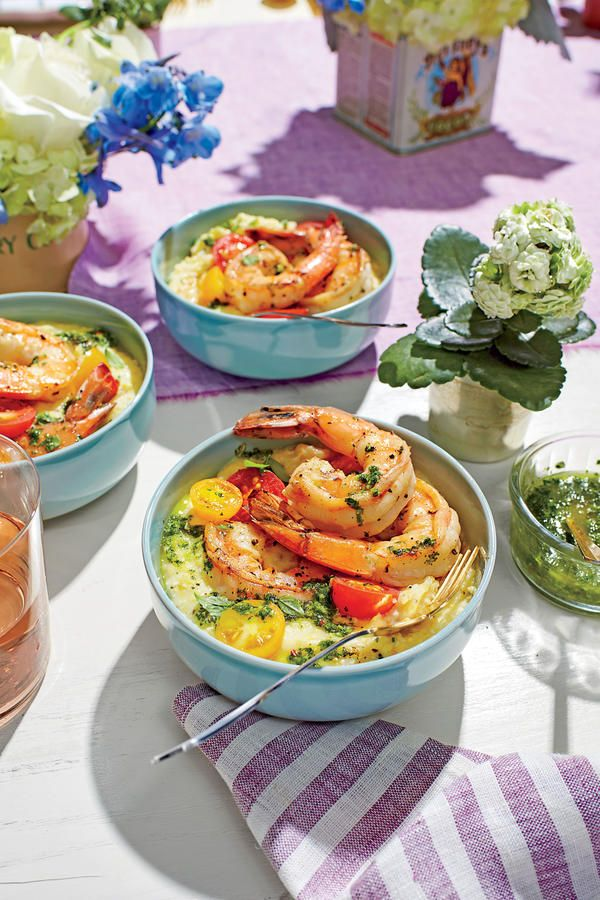 Mother's Day Brunch: Pan-Seared Shrimp with Chive Grits and Salsa Verde