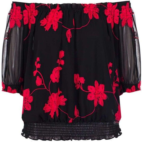 Dorothy Perkins **Quiz Floral Bardot Top ($35) ❤ liked on Polyvore featuring tops, black, floral chiffon top, chiffon tops, floral tops, 3/4 length sleeve tops and floral print tops