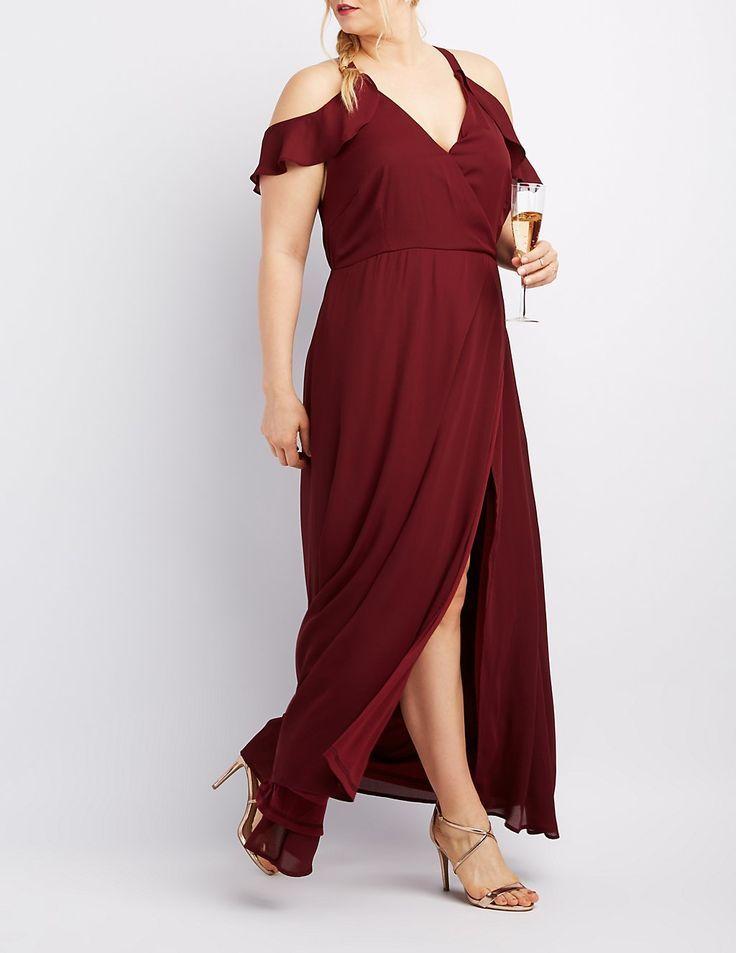 f3898d0fe62 Plus Size Surplice Cold Shoulder Maxi Dress