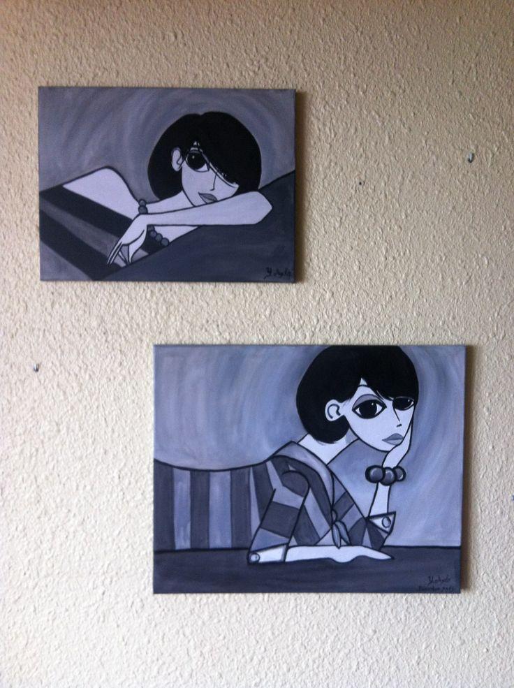 conjunto cuadro chica minimalista