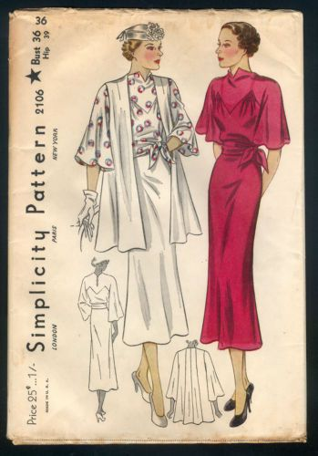 Simplicity 2106   1930s Misses' Dress and Jacket