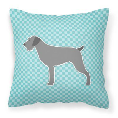Carolines Treasures German Wirehaired Pointer Checkerboard Square Decorative Outdoor Pillow Blue - BB3711PW1818