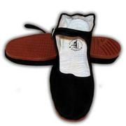 black cotton chinese shoes cheap brown plastic soles - holy cow ... I wore these when I worked at the cookie place at Springfield Mall!  SLID all over the place on the greasy tiles to serve my customers QUICKLY!