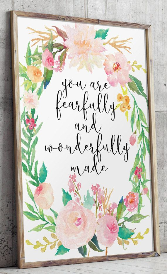 Nursery bible verse Nursery art Fearfully and by TwoBrushesDesigns #nurseryprints