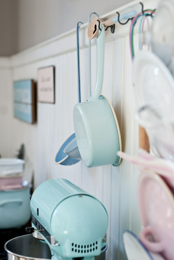 Pastels, enamel, Minty House kitchen