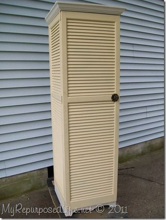 DIY- Repurposed shutters into a storage cupboard.: Idea, Diy, Repurpose Shutter, Repurposed Shutter Cupboard, Repurposed Shutters, Bi Fold Doors